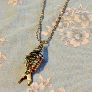 Colorful Cloisonné Fish Pendant on Gold Tone Chain